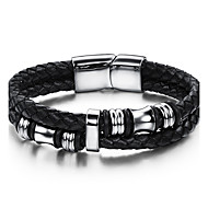 cheap Jewelry & Watches-Men's Geometric Leather Bracelet - Stainless Steel, Leather Vintage, Punk, Rock Bracelet Black For Birthday Training Dailywear