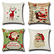 4 szt Cotton / Linen Pokrywa Pillow Poszewka na poduszkę,Nowość Modny Święta Bożego NarodzeniaRetro Tradycyjny / Classic Euro Święta