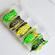お買い得  釣り用アクセサリー-5 pcs 釣りフック / ルアー ソフトベイト / カエル プラスチック シースルー刺しゅう ベイトキャスティング