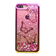 Недорогие Кейсы для iPhone 8-Кейс для Назначение Apple iPhone 8 iPhone 8 Plus Покрытие Движущаяся жидкость С узором Кейс на заднюю панель Бабочка Сияние и блеск Мягкий