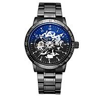 Dames Skeleton horloge mechanische horloges Japans Automatisch opwindmechanisme s Nachts oplichtend Legering Band Zwart