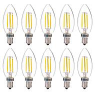 Χαμηλού Κόστους Λαμπτήρες LED με νήμα πυράκτωσης-BRELONG® 10pcs 4 W 350 lm E14 LED Λάμπες Πυράκτωσης C35 4 leds COB Διακοσμητικό Θερμό Λευκό Άσπρο AC 220-240V
