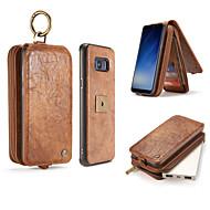Кейс для Назначение SSamsung Galaxy S8 Plus S8 Бумажник для карт Кошелек Флип Чехол Сплошной цвет Твердый Натуральная кожа для S8 Plus S8