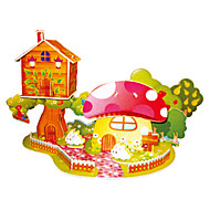 cheap Toys & Hobbies-3D Puzzles Jigsaw Puzzle Model Building Kits Toys Plane / Aircraft Famous buildings Chinese Architecture House Mushroom Architecture 3D