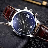 Недорогие Фирменные часы-YAZOLE Муж. Спортивные часы Армейские часы Наручные часы Кварцевый Календарь Творчество PU Группа Аналоговый Кулоны Винтаж На каждый день Черный / Коричневый -