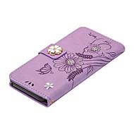 Недорогие Чехлы и кейсы для Galaxy J5-Кейс для Назначение SSamsung Galaxy J5 (2016) Бумажник для карт Кошелек со стендом Флип Магнитный Своими руками Чехол Бабочка Цветы