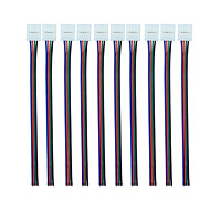 お買い得  -rgb 4ピン10mmのピグテール付きコネクタ(10pcs)10mm幅の5050rgbフレキシブルLEDストリップ用ピグテールアダプタのフレキシブルライトストリップ