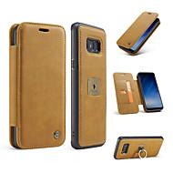 Кейс для Назначение SSamsung Galaxy S8 Plus S8 Кошелек Бумажник для карт Кольца-держатели Флип Чехол Сплошной цвет Твердый Натуральная