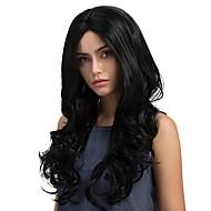 お買い得  -人工毛ウィッグ ウェーブ スタイル キャップレス かつら ブラック ジェットブラック 合成 女性用 ブラック かつら ロング MAYSU ナチュラルウィッグ