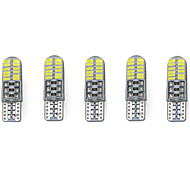 3w白dc12v t10 smd3014 24led canbus装飾ランプライトナンバープレートライトドアランプ5本を読む