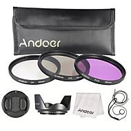 Kit de filtre de 55 mm (uv cpl fld) sac de transport en nylon capuchon d'objectif capuchon d'objectif capot de lentille tissu de nettoyage
