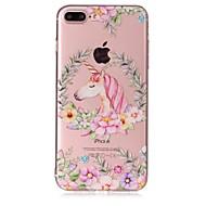 Назначение iPhone X iPhone 8 Чехлы панели Прозрачный Рельефный С узором Задняя крышка Кейс для единорогом Цветы Мягкий Термопластик для