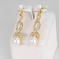 女性用 ドロップイヤリング 合成ダイヤモンド 人造真珠 ファッション 人造真珠 合金 幾何学形 ジュエリー 用途 パーティー 誕生日 日常