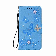 Case For Apple iPhone 7 Plus / iPhone 7 / iPhone 6s Plus Wallet / Card Holder / Rhinestone Full Body Cases Butterfly Hard PU Leather