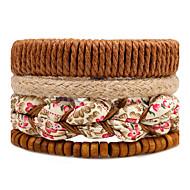 Herre Dame Strand Armbånd Wrap Armbånd Mode Boheme Stil Justérbar Multi-bæremåder beklædning Gør Det Selv Træ Rund form Blomstformet