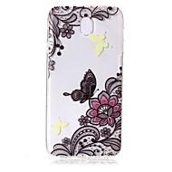 Taske til samsung galaxy j7 (2017) j5 (2017) mobil taske tpu materiale sommerfugl blomster mønster malet telefon sag j3 (2017) j710 j510