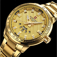 NAVIFORCE בגדי ריקוד גברים שעוני ספורט שעונים צבאיים שעון יד Japanese קווארץ מתכת אל חלד שחור / כסף / זהב 30 m עמיד במים לוח שנה יצירתי אנלוגי קסם פאר קלסי יום יומי צמיד - / שנתיים / צג גדול