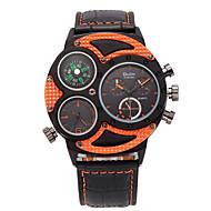 저렴한 -Oulm 남성용 손목 시계 밀리터리 시계 석영 쓰리 타임 존 PU 밴드 캐쥬얼 멋진 블랙