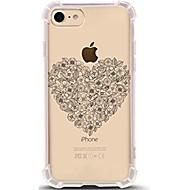 Назначение iPhone X iPhone 8 Чехлы панели Ультратонкий Прозрачный С узором Задняя крышка Кейс для С сердцем Цветы Мягкий Термопластик для
