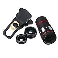 baratos -10x multifuncional 4 in1 lente de câmera externa grande angular macro fisheye telefoto para celular (preto)