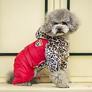 billige -Hund Frakker Genser Kjeledresser Dunjakker Hundeklær Fritid/hverdag Hold Varm Sport Leopard Oransje Gul Rød Kostume For kjæledyr