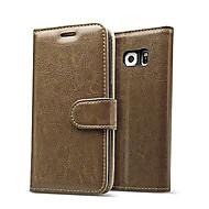 Недорогие Чехлы и кейсы для Samsung-Кейс для Назначение SSamsung Galaxy Бумажник для карт Кошелек со стендом Флип Рельефный Чехол Сплошной цвет Настоящая кожа для S7 edge S7