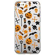 Недорогие Кейсы для iPhone 8 Plus-Кейс для Назначение Apple iPhone X iPhone 8 Прозрачный С узором Кейс на заднюю панель Плитка Halloween Мультипликация Мягкий ТПУ для