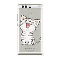 Case Kompatibilitás Huawei P9 P10 Átlátszó Minta Hátlap Cica Átlátszó Puha TPU mert Huawei P10 Plus Huawei P10 Lite Huawei P10 Huawei P9