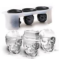 3pcs / set 3d schedelvorm ijsvorm set siliconen ijsblokjesbak keukeninrichting
