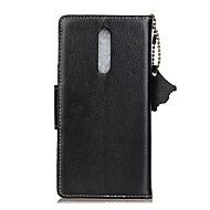 お買い得  携帯電話ケース-ケース 用途 Nokia カードホルダー ウォレット フリップ フルボディーケース ソリッド ハード 本革 のために Nokia 8