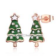 Γυναικεία Κουμπωτά Σκουλαρίκια Δώρο Μοντέρνα Ζιρκονίτης Χαλκός Επάργυρο Με Επίστρωση Ροζ Χρυσού Κράμα Δέντρο της ζωής χριστουγεννιάτικο