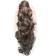 ポニーテールの女性長い波状の金ブロンドのパーティーナチュラル美容ヘアピースの爪クリップの髪の延長