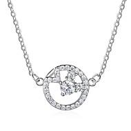 お買い得  -女性用 ダイヤモンド ペンダントネックレス  -  純銀製 ファッション シルバー ネックレス ジュエリー 用途 贈り物, 日常