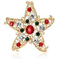 Недорогие Новогодние украшения-Жен. Броши Синтетический алмаз Сплав В форме звезды Бижутерия Назначение Рождество