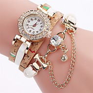 Mujer Reloj de Moda Reloj Pulsera Simulado Diamante Reloj Chino Cuarzo La imitación de diamante PU Banda Bohemio Casual Elegantes Negro