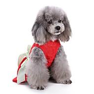 abordables Disfraces de Navidad para mascotas-Gato / Perro Abrigos / Vestidos / Esmoquin Ropa para Perro Un Color Rojo Algodón Disfraz Para mascotas Fiesta / Casual / Diario / Boda