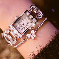 voordelige Modieuze horloges-Dames Modieus horloge Unieke creatieve horloge Gesimuleerd Diamant Horloge Japans Kwarts Roestvrij staal Band Zilver Goud