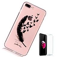 Недорогие Кейсы для iPhone 8 Plus-Кейс для Назначение Apple iPhone X iPhone 8 Plus Прозрачный С узором Кейс на заднюю панель  Перья Мягкий ТПУ для iPhone X iPhone 8 Pluss