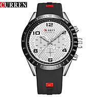 저렴한 -CURREN 남성용 패션 시계 일본어 석영 크로노그래프 방수 큰 다이얼 캐쥬얼 시계 고무 밴드 캐쥬얼 우아한 블랙