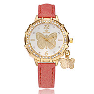 Women's Fashion Watch Chinese Quartz PU Band Casual Butterfly Black White Blue Red Gold Purple Rose Sky Blue