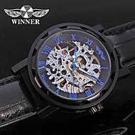 저렴한 -WINNER 남성용 드레스 시계 손목 시계 기계식 시계 오토메틱 셀프-윈딩 중공 판화 가죽 밴드 사치 캐쥬얼 블랙