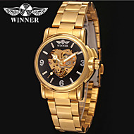 저렴한 -WINNER 남성용 드레스 시계 손목 시계 기계식 시계 오토메틱 셀프-윈딩 중공 판화 스테인레스 스틸 밴드 사치 빈티지 캐쥬얼 멋진 실버 골드
