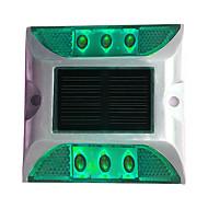 1PCS Aluminum Solar 6-LED Outdoor Road Driveway Dock Path Ground Light Lamp Green