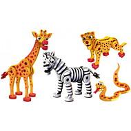 cheap Toys & Hobbies-Building Blocks Toys Snake Dinosaur Zebra Animal DIY Children's 4 Pieces