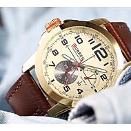 저렴한 -CURREN 남성용 캐쥬얼 시계 일본어 석영 방수 큰 다이얼 캐쥬얼 시계 가죽 밴드 캐쥬얼 우아한 브라운