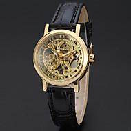 abordables Relojes Mecánicos-WINNER Mujer Reloj de Pulsera Huecograbado Piel Banda Lujo / Vintage / Casual Negro / Acero Inoxidable / Cuerda Manual