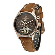abordables Relojes Mecánicos-FORSINING Mujer Reloj de Pulsera Reloj de Moda Reloj Casual Cuerda Automática Reloj Casual Cuero Auténtico Banda Casual Cool Negro