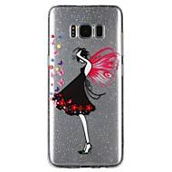 Недорогие Чехлы и кейсы для Galaxy S8-Кейс для Назначение SSamsung Galaxy S8 / S7 Полупрозрачный / Рельефный / С узором Кейс на заднюю панель Соблазнительная девушка / Мультипликация / Сияние и блеск Мягкий ТПУ для S8 / S7 / S6