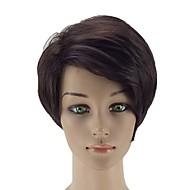 お買い得  -人工毛ウィッグ ストレート 合成 サイドパート ブラウン かつら 女性用 ショート キャップレス ダークブラウン