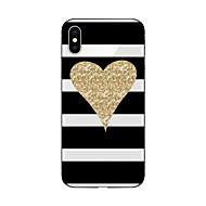 Недорогие Кейсы для iPhone 8 Plus-Кейс для Назначение Apple iPhone X iPhone 8 С узором Кейс на заднюю панель Полосы / волосы С сердцем Сияние и блеск Мягкий ТПУ для iPhone